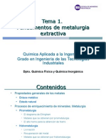 Tema 1. Fundamentos de Metalurgia Extractiva