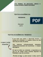 Elaboração de Resenha 2015