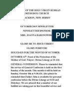 Nativity of the Holy Virgin Church - Newsletter - October, 2015