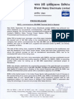 BHEL commissions 250 MW Thermal Unit in Gujarat [Company Update]