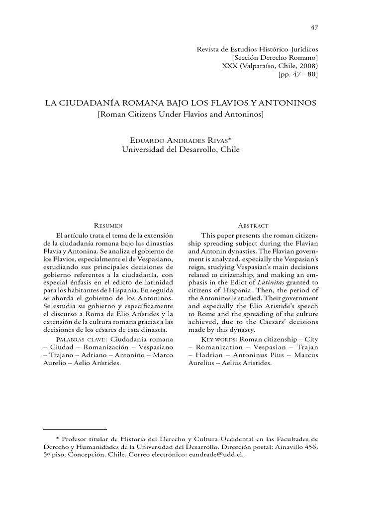 La ciudadanía romana bajo los Flavios y Antoninos