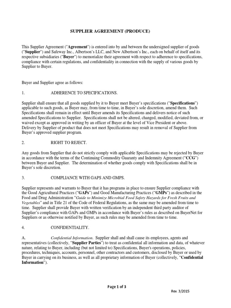 Produce Supplier Agreement Form Confidentiality Non Disclosure