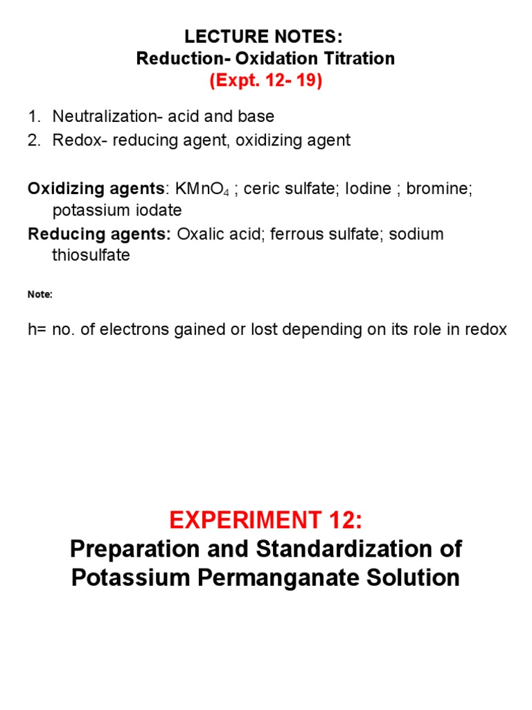 Expt 12- 19 | Titration | Redox