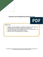 Customer Food Complaint or Food Poisoning Form