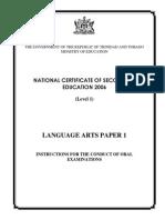NCSE 2006 Language Arts Paper 1 Teachers Guide