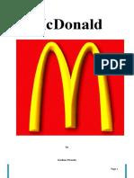 Mcdonalds Mini Report