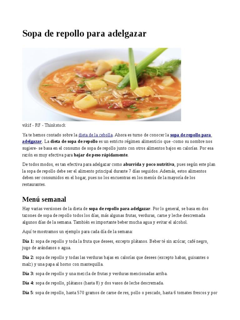dieta sopa de col rebote