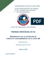 Diagnóstico de la situación de Conflicto Socioambiental en el Lote 64