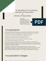 Incorporation of Company