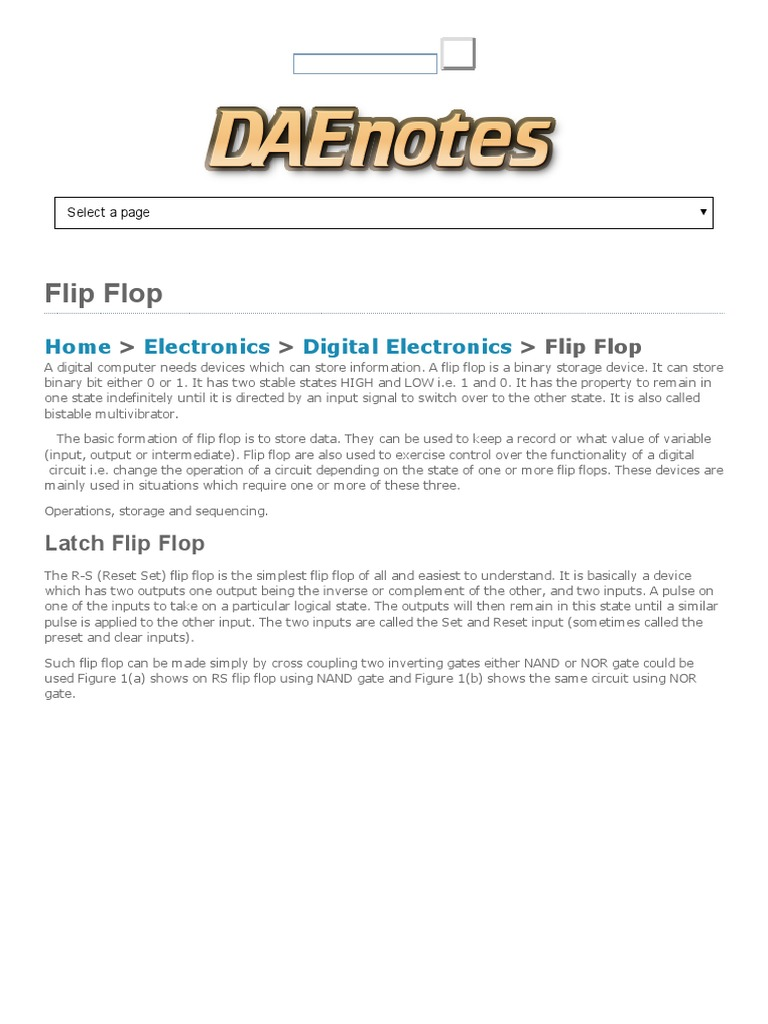 Flip Flops R S J K Clocked Daenotes Computer Hardware Flop Circuit Of A Rs Built With D 2 The Jk Electronic Circuits