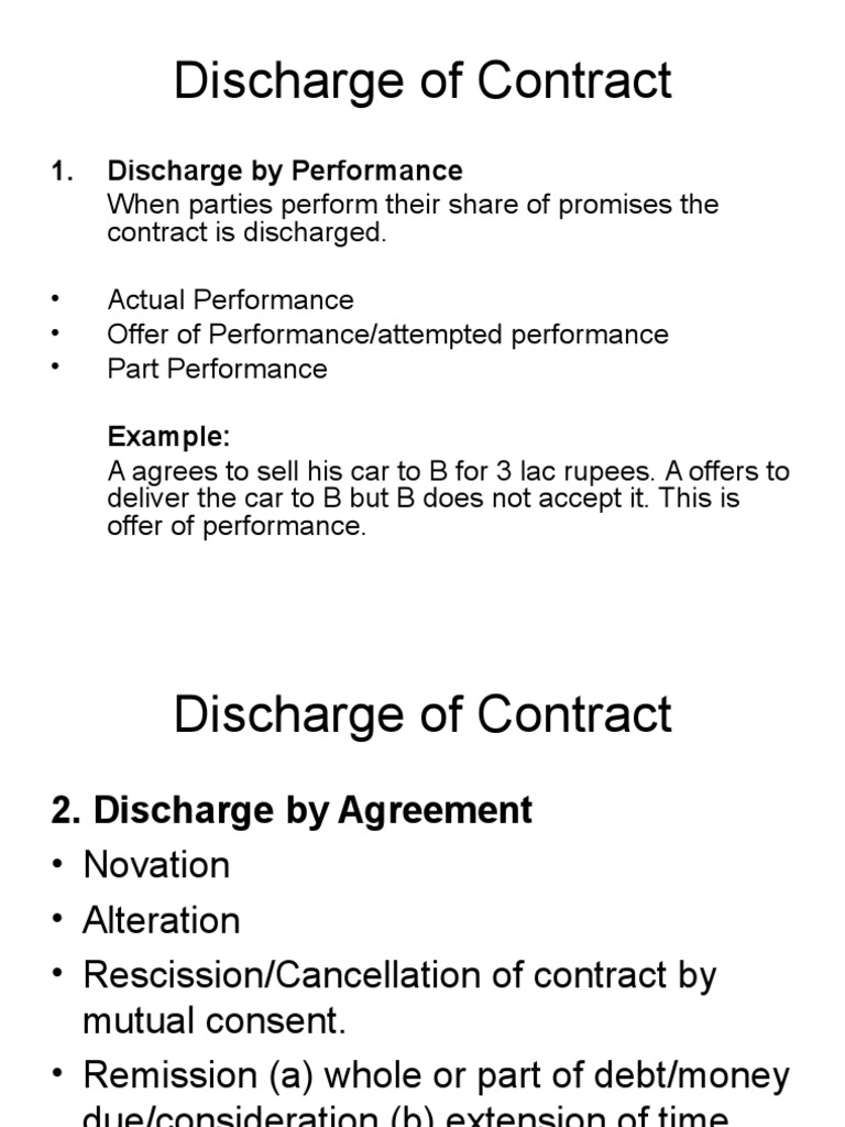 Discharge Of Contract Breach Of Contract Damages