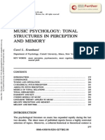 Music Psychology- Tonal Structures in Perception and Memory