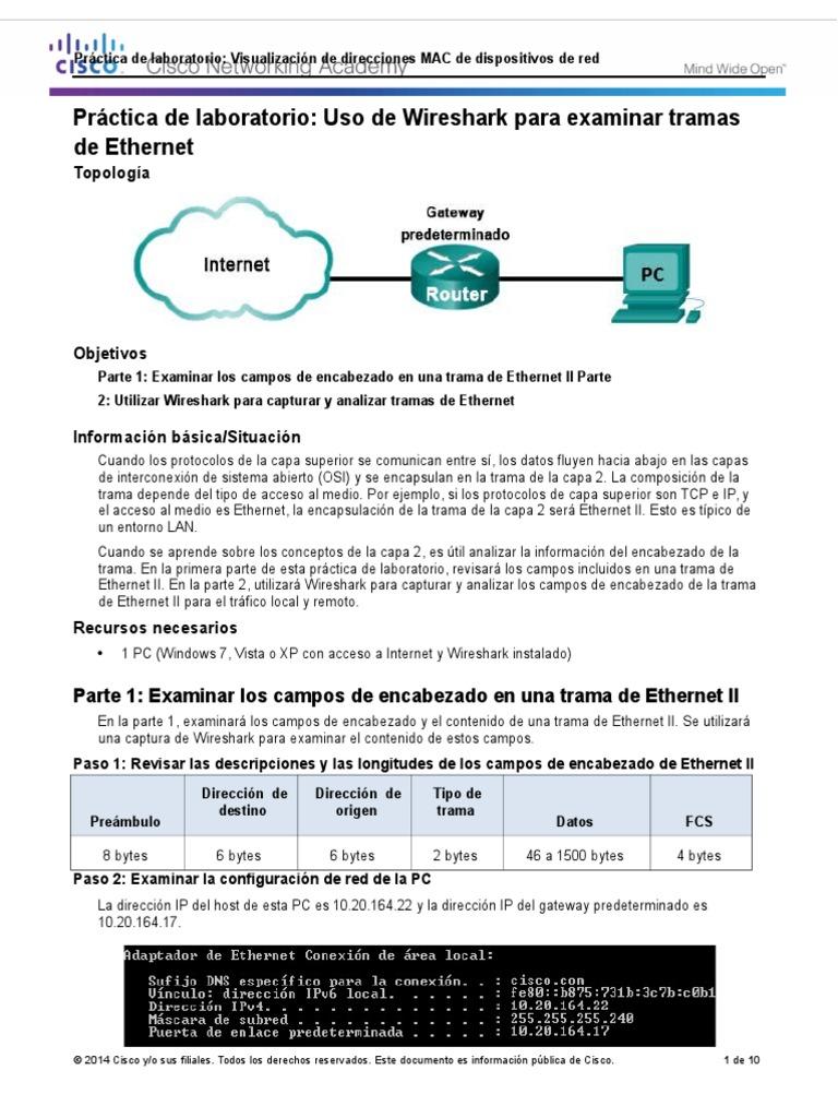 Famoso Wireshark Trama Ethernet Inspiración - Ideas Personalizadas ...