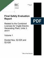 NUREG-2124, Volume 1 (Final SER for Vogtle Units 3 and 4)