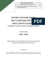 Instructivo Inicio de Clases 2015-2016