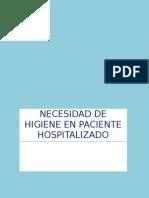 Necesidad de Higiene en Paciente Hospitalizado
