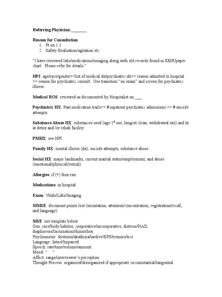 Initial Consult Note Template