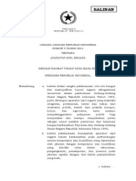 Undang Undang Republik Indonesia Nomor 5 Tahun 2014 Ttg Aparatur Ssipil Negara