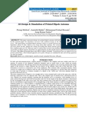 3D Design & Simulation of Printed Dipole Antenna   Antenna
