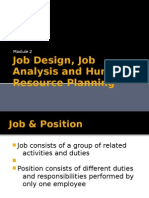 Job Design, Job Analysis and Human Resource