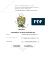 OPERACIONES DE MATERIA PRIMA