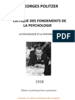 Georges POLITZER Critique Des Fondements de La Psychologie