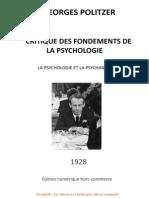 Georges POLITZER Critique Des Fondements de La Psychologie