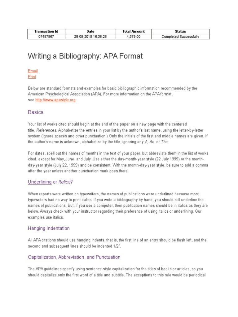 Bibliography | Apa Style | Citation