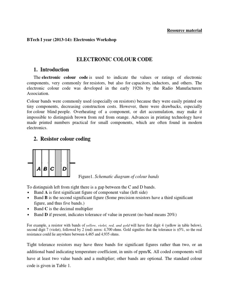 Electric Resistor Color Coding Components Electrical Engineering Code Diagram