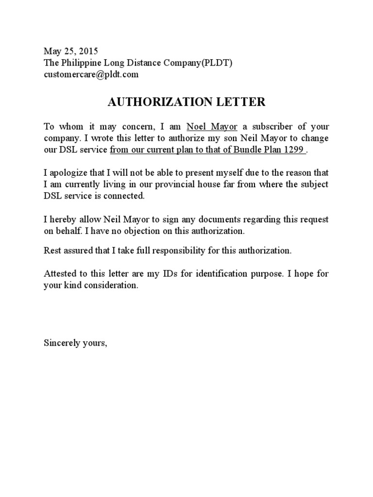 Authorization Letter Format For Company Representative. PLDT Authorization Letter Sample