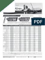 Tarifario Hoteles Buenos Aires - Octubre y Noviembre 2015