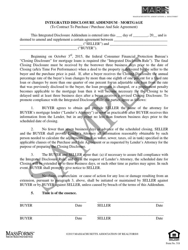 Integrated Disclosure Addendum C 2015 Watermark Mortgage Loan
