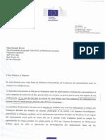 Lettre du Commissaire Andriukaitis, Commission Dg Santé