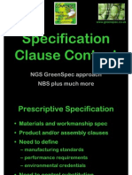 Specification Clause Content  (Presented to Architects CPD)