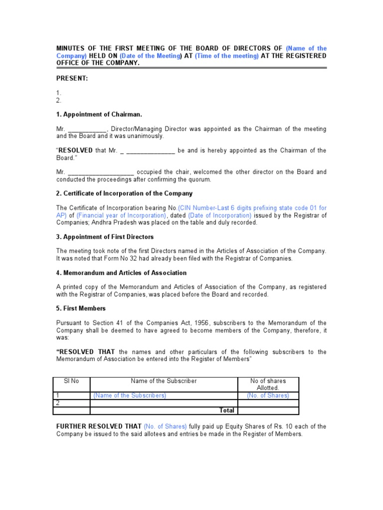 1 meeting minutes of pre incorporation Chapter 1 general corporation law unless otherwise provided in the certificate of incorporation or bylaws, when 1 or (1) at any meeting held for.