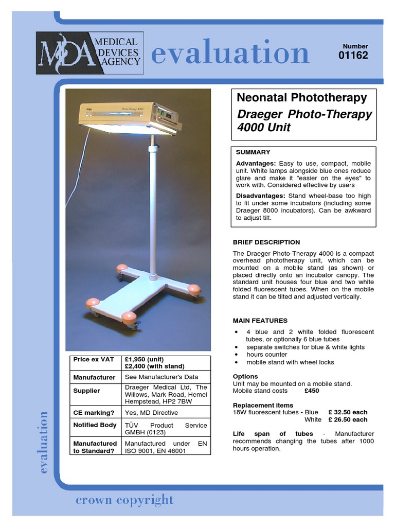 Neonatal Phototherapy: Draeger Photo-Therapy 4000 Unit