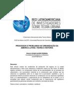 PROCESSOS E PROBLEMAS NA URBANIZAÇÃO DA  AMÉRICA LATINA
