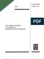 Norma COVENIN 2245- 90 - Escalreas, Rampas y Pasarelas. Requisitos de Seguridad