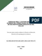 2012 Delgado Lenguaje Oral y Lectura Inicial en Alumnos Del Primer Grado de Primaria de Dos Instituciones Educativas Del Callao