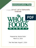 crisis communication plan for whole foods market inc