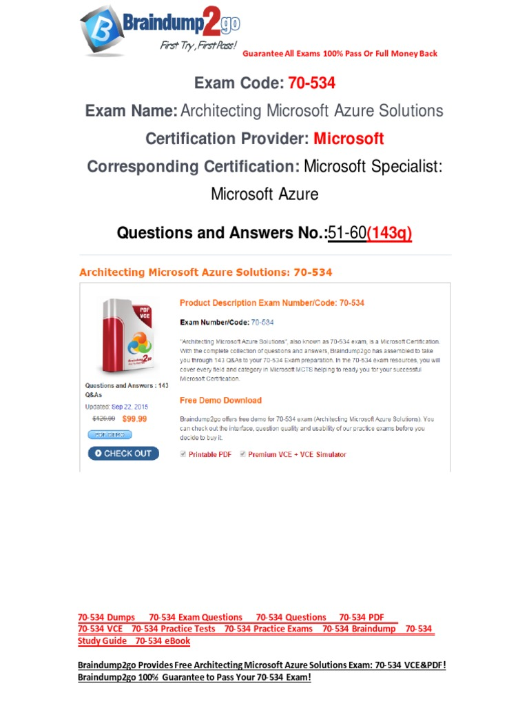 Freebraindump2go 70 534 Dumps 51 60 Cloud Computing Microsoft