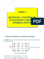 Tema Matrices y Sistema de Ecuaciones Lineales. Pprimera Parte.