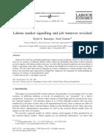 Labour market signalling and job turnover revisited Banerjee y Gaston 2003