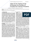 Professionalism of the Teacher of the Vocational Education as Condition of Improvement of Quality and Training of Students