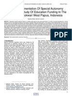 Policy Implementation of Special Autonomy Funds Case Study of Education Funding in the District Manokwari West Papua Indonesia
