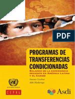 Programas de Transferencias Condicionadas. Balance de la experiencia reciente en América Latina y el Caribe