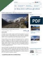 Ai piedi del Monte Rosa dove soffrono gli ultimi ghiacciai - La Stampa del 28 settembre 2015