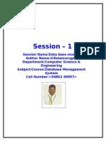 DBMS SESSION PLANS