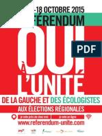 """Affiche Referendum """"Oui à l'unité de la gauche et des écologistes"""""""
