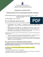 PROGRAMA Da Prova de Musica Para REOPCAO 2012.2